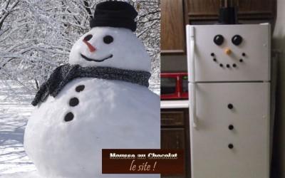 Bonhomme de neige et mousse au chocolat